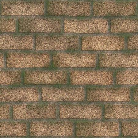 duplication: Old brickwork, moss-grown, 3D illustration. To revet, suits for duplication of the background