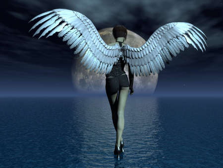 The girl angel, going on water. illustration; 3D illustration