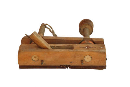 handiwork: ancient wooden carpenter instrument, plane, smoothing plane, handiwork. Russia. Isolated Stock Photo