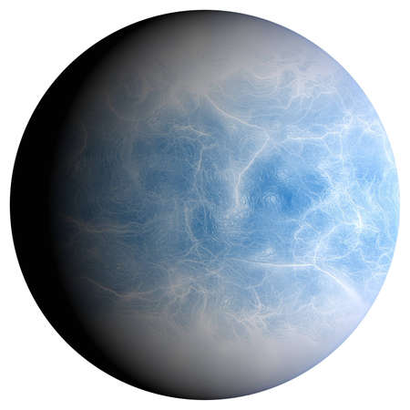 icy: The icy planet, 3D rendering, isolated, fantasy. Stock Photo