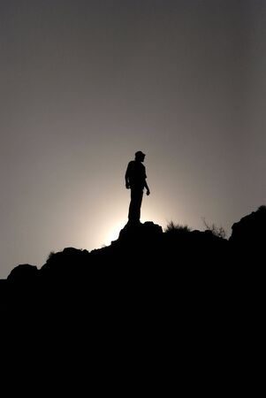 Silhouette of loneliness men Stock Photo - 5962465