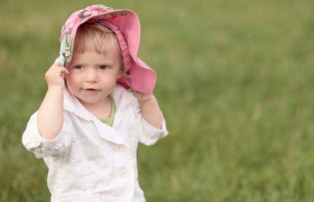 sun hat: beautiful little girl in hat