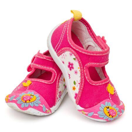 Kids schoenen geïsoleerd op wit Stockfoto