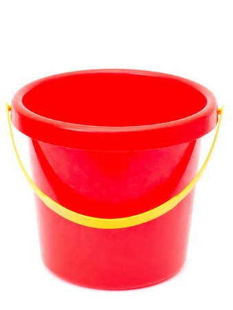 empty plastic red bucket, isolated photo