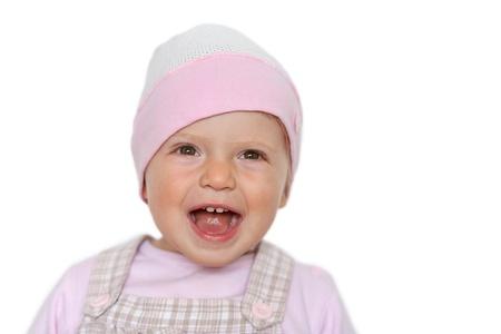 Beb� en risa sombrero, aislado en blanco Foto de archivo - 15869514