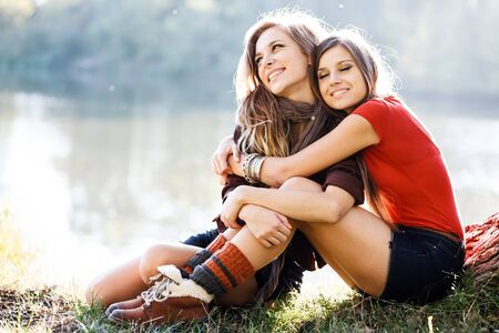 two girlfriends outdoor photo