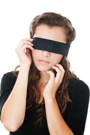 blindfolded: young female with black blindfold Stock Photo