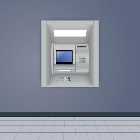 cash machine: ATM on dark wall.