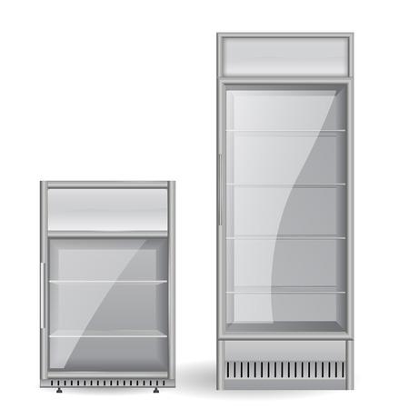 冷蔵庫の飲み物。ガラスのドア。 ベクター グラフィックは、白い背景で隔離。