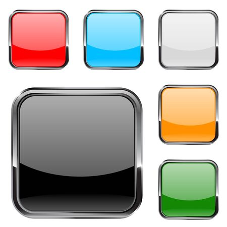 square buttons: Square  buttons with metal chrome frame. Vector illustration isolated on white background.