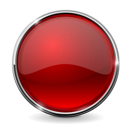 Botón rojo de cristal con marco cromado. Ilustración del vector aislado en el fondo blanco. Foto de archivo - 66663206