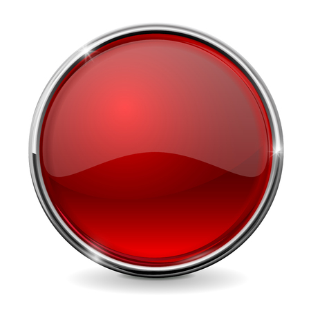 Glass red button with chrome frame. Vector Illustration isolated on white background.