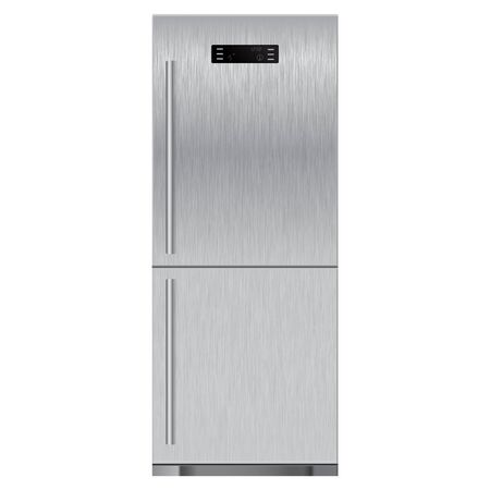 stainless: Refrigerator with scratched texture. Vector illustration isolated on white background.