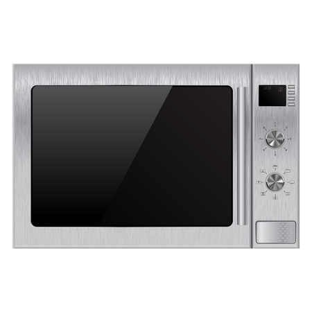 window display: Stainless microwave oven. Vector Illustration isolated on white background