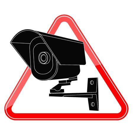 Video surveillance CCTV security camera icon in red triangle. Vector illustration isolated on white background Illustration