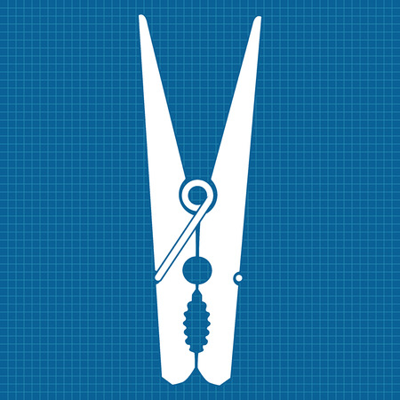 clothes pin: Clothes peg.   icon clothes pin. Vector illustration on blueprint background