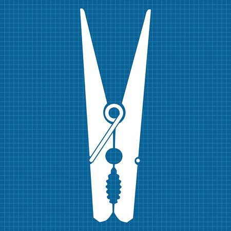 clothespeg: Clothes peg.   icon clothes pin. Vector illustration on blueprint background