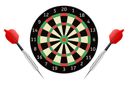 Darts board and darts arrows. Vector illustration isolated on white background Stock Illustratie