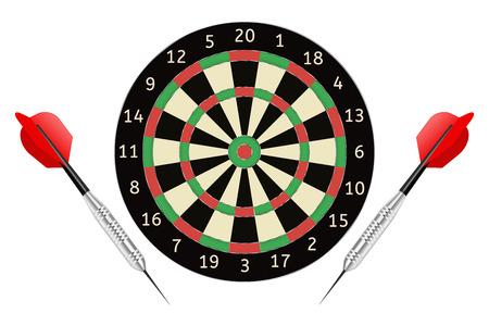 Tablero de dardos y flechas de dardos. Ilustración de vector aislado sobre fondo blanco Foto de archivo - 66663116
