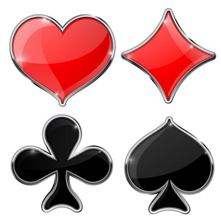 clubs diamonds: Four cards suits - diamonds, clubs, spades, hearts. Vector illustration isolated on white background.