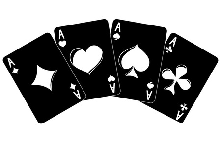Playing cards. four aces. Vector illustration isolated on white background.