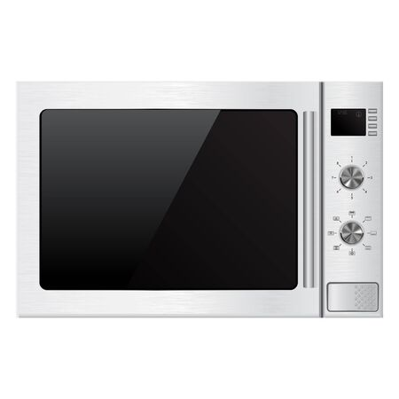 window display: Microwave oven. Vector illustration isolated on white background