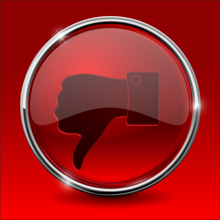 disapprove: Thumb down  icon. Red round shiny button. Vector illustration