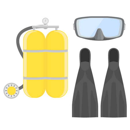 Aqualung. Diving set. Dive Mask and tube for diving. illustration isolated on white background Illustration