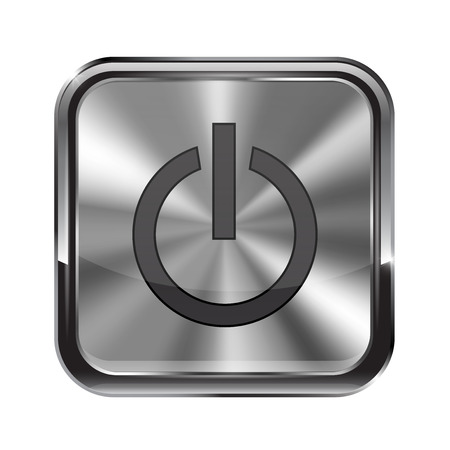 metal button: Metal button. With frame. Stand by icon. illustration isolated on white background Illustration