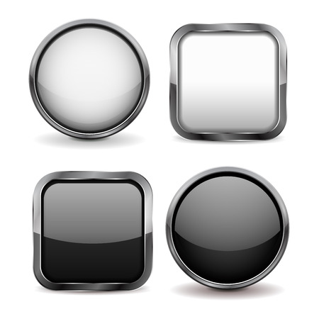 shiny buttons: Glass buttons. Set of black and white shiny icons. illustration isolated on white background Illustration