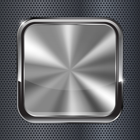 Square black metallic button. illustration on metal perforated background Vettoriali