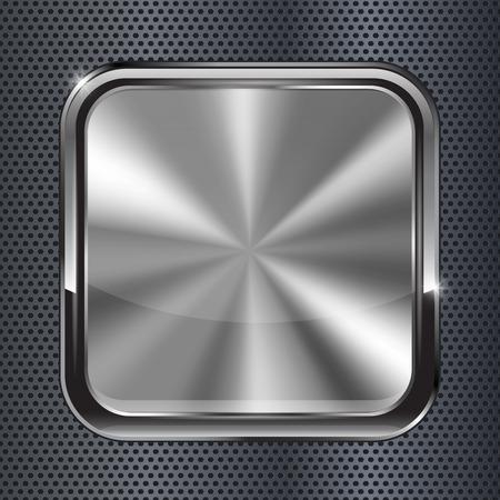 Square black metallic button. illustration on metal perforated background Stock Illustratie