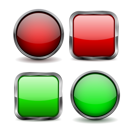 square buttons: Glass buttons. Set of red and green shiny icons.  illustration isolated on white background