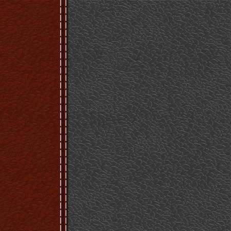 texture leather: Gray leather background with blank label. illustration Illustration
