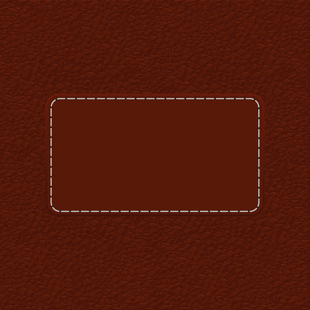 texture leather: Brown leather background with blank label. illustration