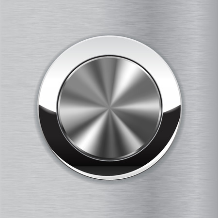 Metal button on brushed steel background. illustration