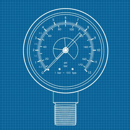 manometer: Gauge. Manometer icon. illustration on blueprint background