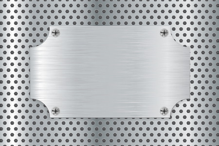 brushed: Metal brushed plate on steel background. illustration