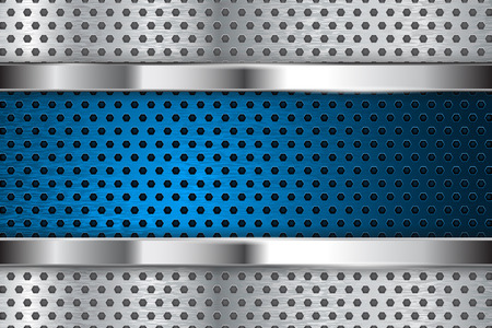 perforated: Metal perforated background with blue steel plate. illustration Illustration