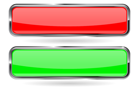 blank button: Web button vector.  Red and green shiny   button with metal frame. Vector illustration isolated on white background. Illustration