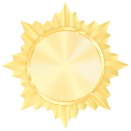 Golde medal. Shiny Order star. Empty award sign. Vector illustration isolated on white background
