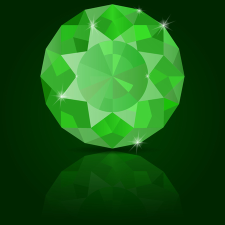 reflection: Emerald vector. On green background with reflection
