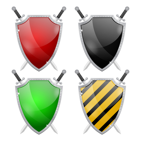Glass shield with metal frame and swords. Vector isolated on white background.