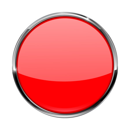 shiny: Red button. Shiny glass button with metal frame. Vector illustration isolated on white background.