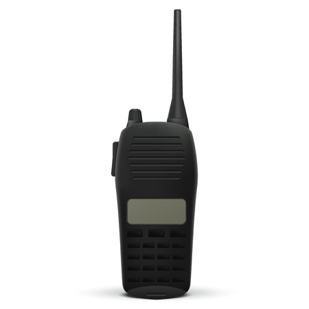 Portable  radio transceiver. Walkie talkie. Vector illustration isolated on white background.