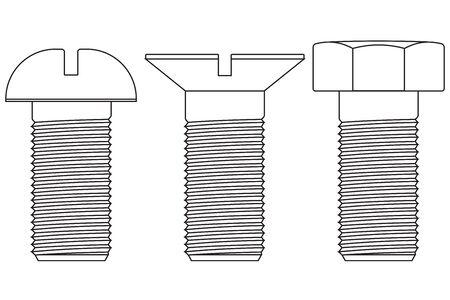 bolt: Metal bolt. Screw outline icons. Vector illustration isolated on white background Illustration