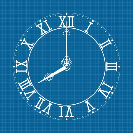 Wijzerplaat met Romeinse cijfers. Wit pictogram op blauwdrukachtergrond. Vector illustratie