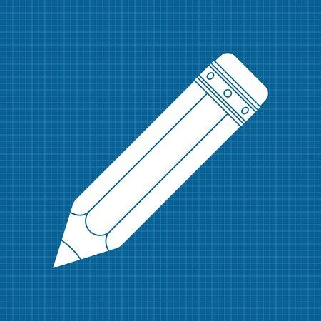 Lápiz. Icono blanco sobre fondo plano. Ilustración vectorial Vectores