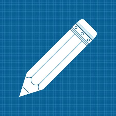 Pencil. White icon on blueprint background. Vector illustration