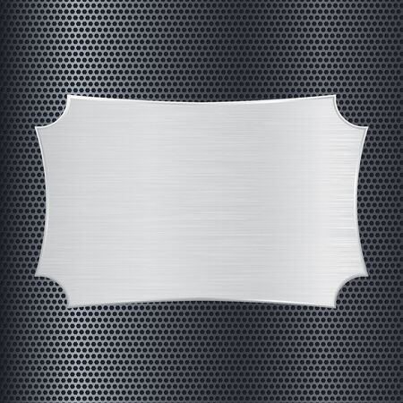 perforated: Metal plate on perforated background. Vector illustration